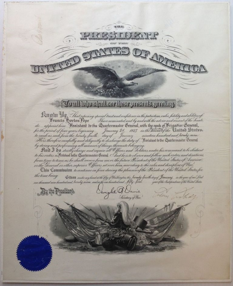 Large Document Signed as President. Calvin COOLIDGE, 1872 - 1933.
