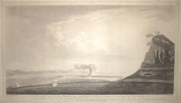 A View from the Bay of a part of Gibraltar, with the Spanish works on the Isthmus as erected against the place in the late Siege. William FADEN, George Frederic KOEHLER.