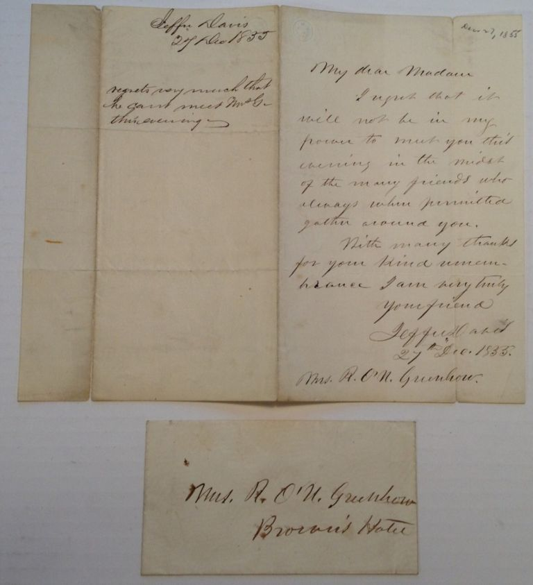 Rare Autographed Letter Signed and Original Envelope. Jefferson DAVIS, 1808 - 1889.
