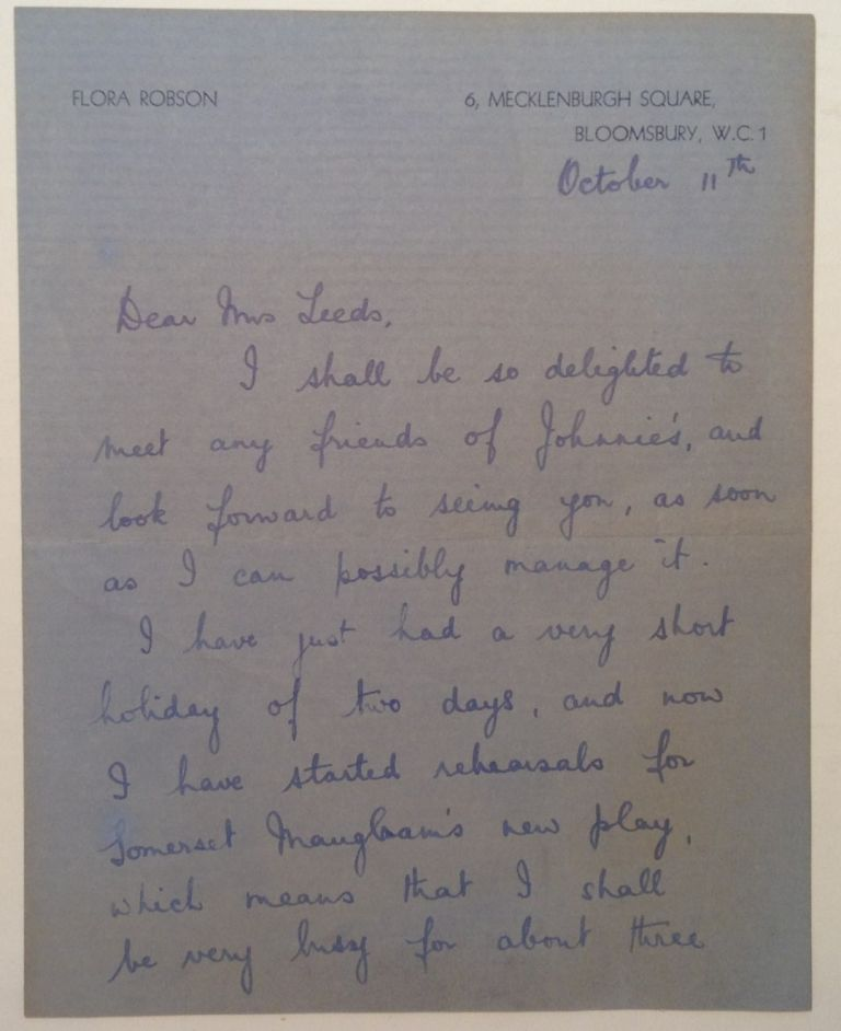 Autographed Letter Signed. Flora ROBSON, 1902 - 1984.