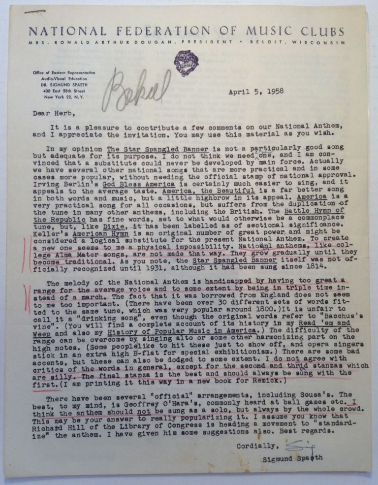 Typed Letter Signed about the National Anthem. Sigmund SPAETH, 1885 - 1965.