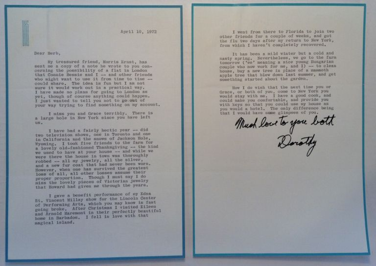 Chatty Typed Letter Signed. Dorothy H. STICKNEY, 1896 - 1998.