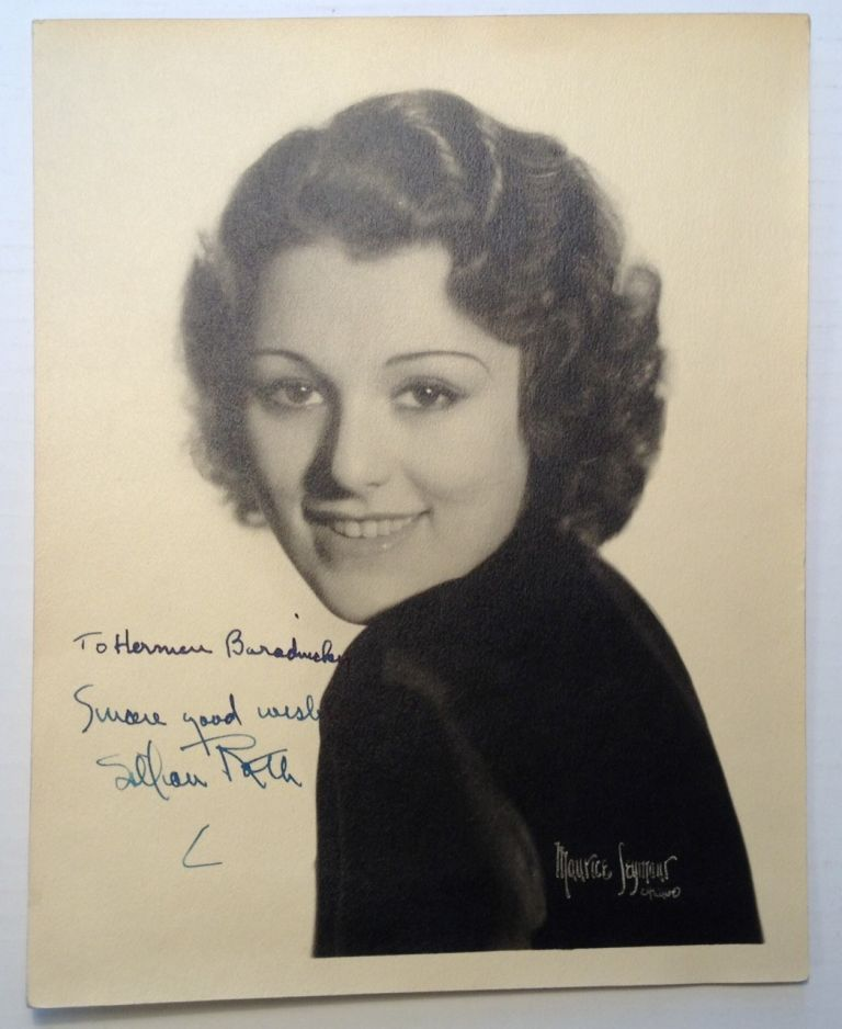 Inscribed Signed Photograph. Lillian ROTH, 1910 - 1980.