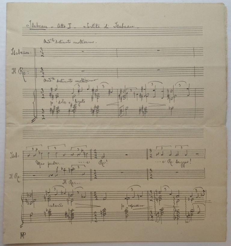 Lengthy Autographed Musical Quotation Signed. Pietro MASCAGNI, 1863 - 1945.