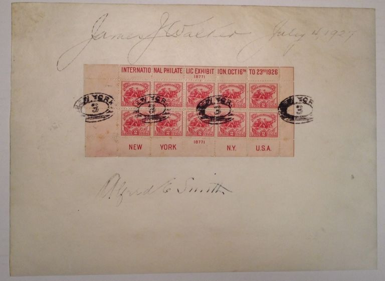 Autographed Page with Stamps. James J. WALKER, Alfred E. SMITH.