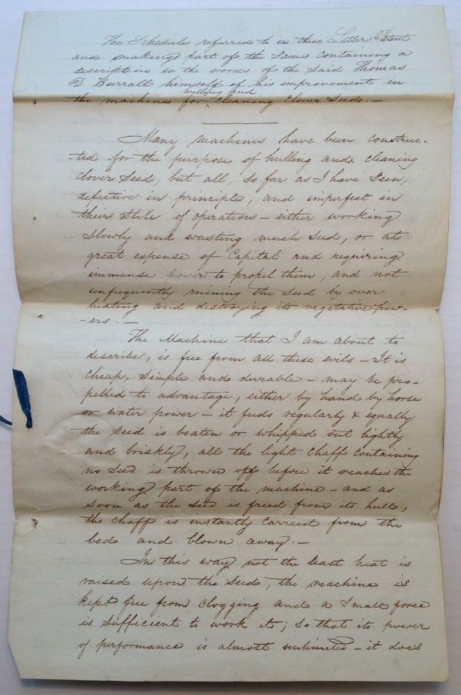 Autographed Manuscript Signed. Thomas Davies BURRALL, 1786 - 1872.