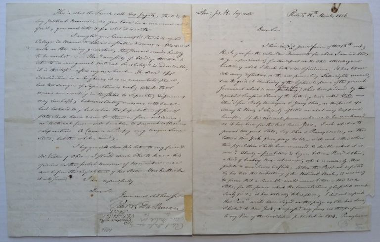 Autographed Letter Signed to U.S. Whig Congressman Joseph Reed Ingersoll. Peter Stephen DU PONCEAU, 1760 - 1844.