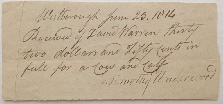 War-date Document Signed. Timothy UNDERWOOD, 1742 - 1816.