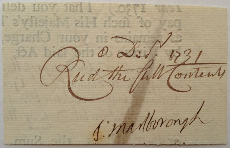 Clipped Signature. Sarah CHURCHILL, 1660 - 1744.