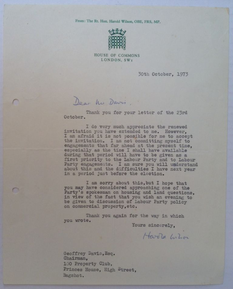 "Typed Letter Signed on ""House of Commons"" letterhead. Harold WILSON, 1916 - 1995."