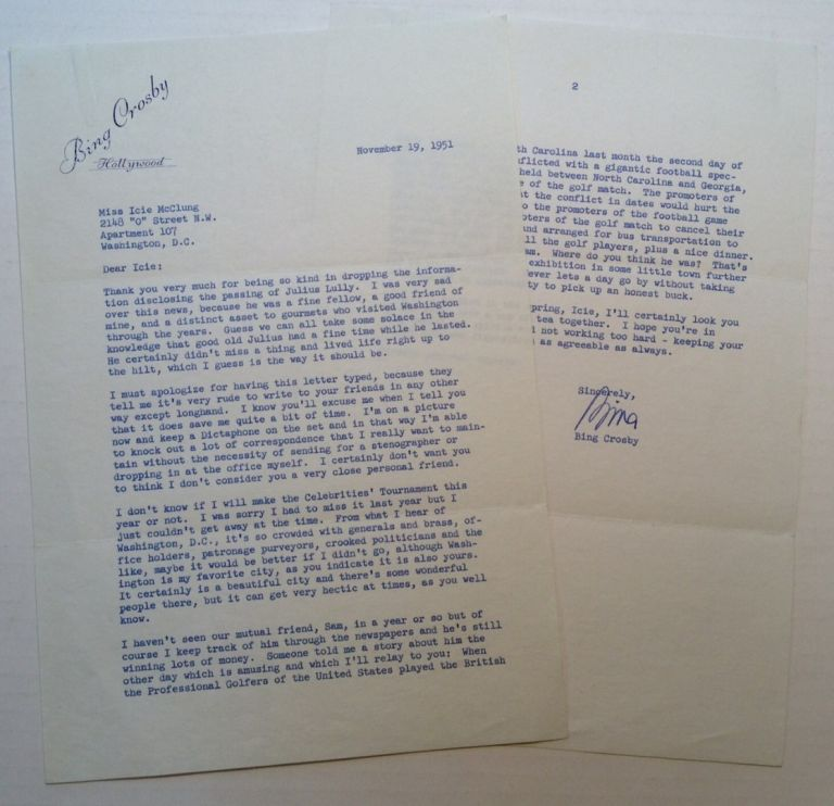 "Typed Letter Signed ""Bing"" on personal letterhead. Bing CROSBY, 1903 - 1977."