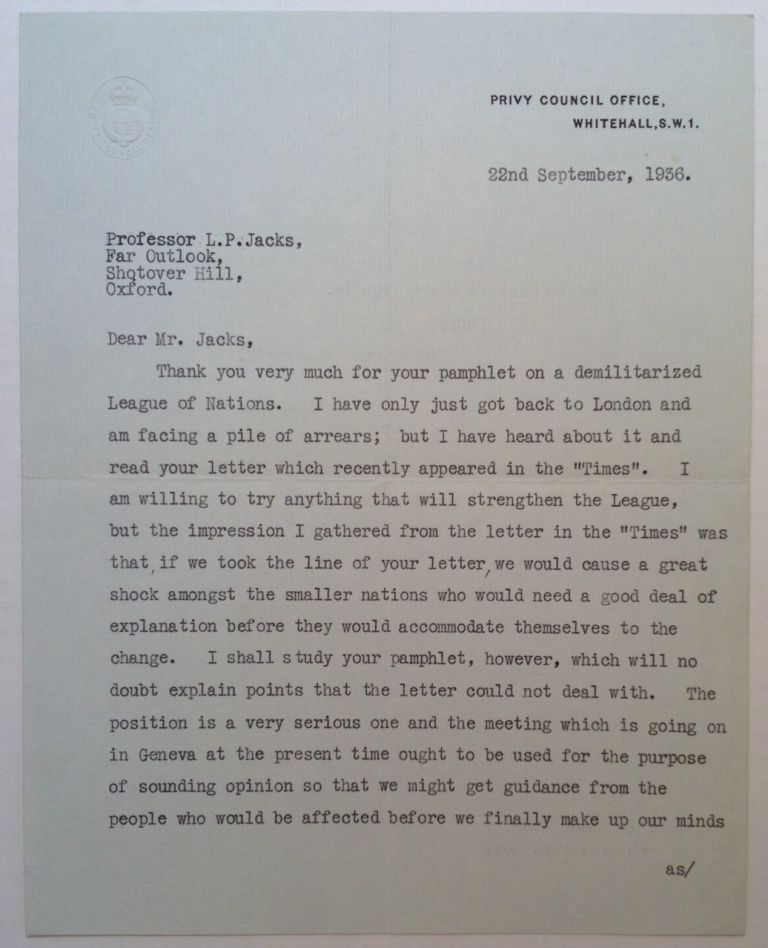 Typed Letter Signed. Ramsay MACDONALD, 1866 - 1937.