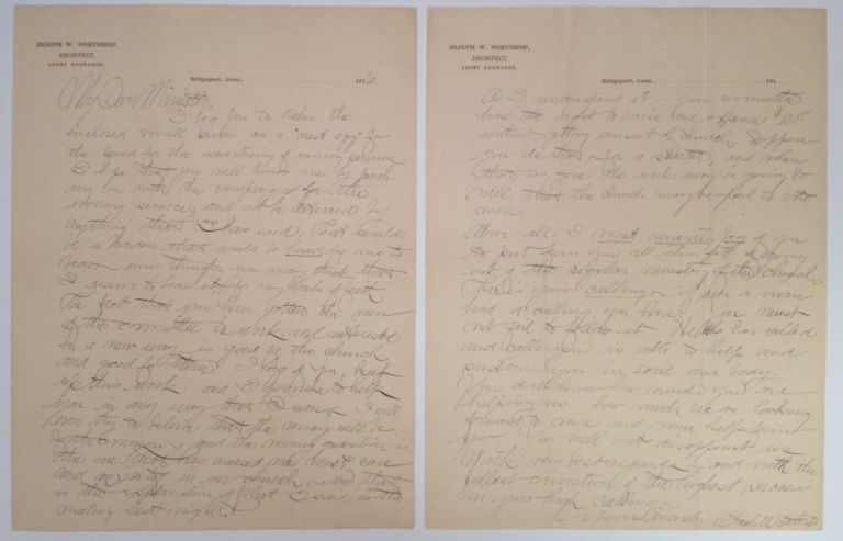 Autographed Letter Signed to a famous clergyman. NORTHROP Joseph W., 1886 -1968.