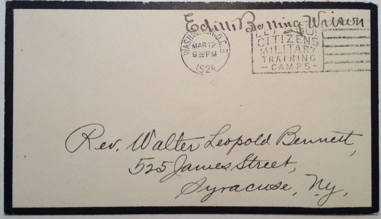 Autographed Free Frank. Edith WILSON, Bolling, 1872 - 1961.
