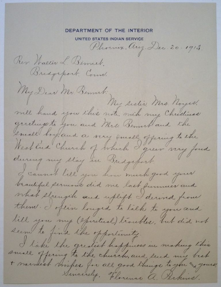 Autographed Letter Signed. Florence PERKINS, Gillman.