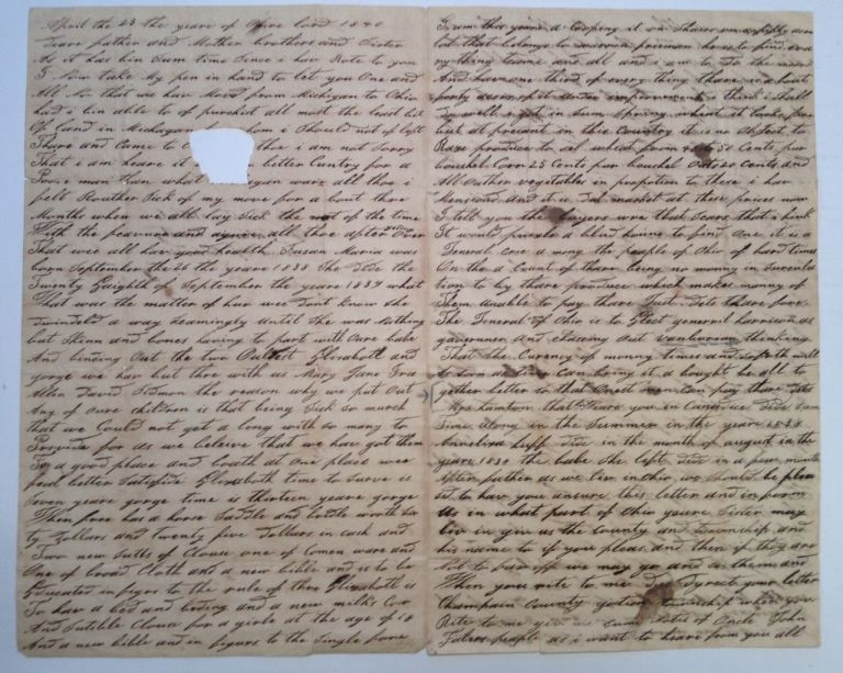 Autographed Letter Signed. OHIO SERVITUDE - 1840.