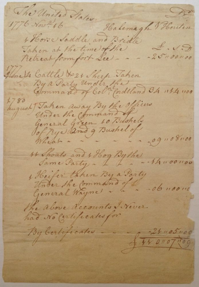 Autographed Document Signed as Justice of the Peace. Daniel VAN RIPEN, 1736 - 1818.