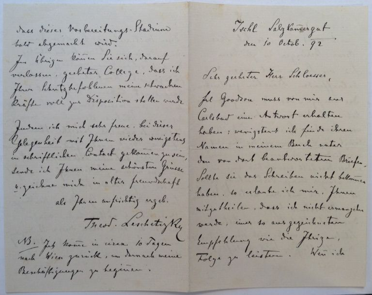 Lengthy Autographed Letter Signed in German. Theodor LESCHETIZKY, 1830 -1915.