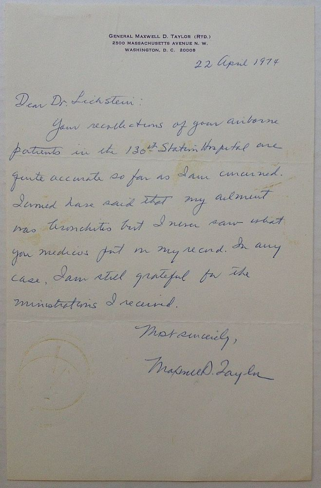 Autographed Letter Signed on personal letterhead. Maxwell D. TAYLOR, 1901 - 1987.