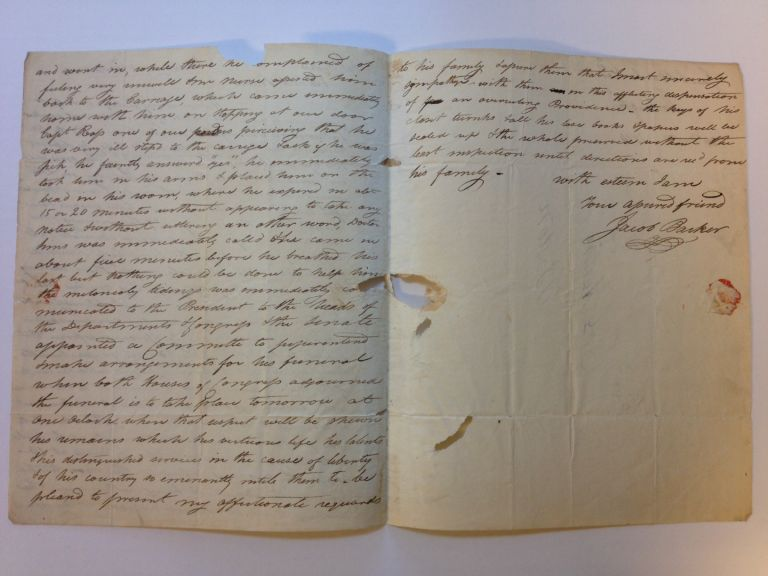Autographed Letter Signed, a First Hand Account of his Death as Vice President. Elbridge Gerry.