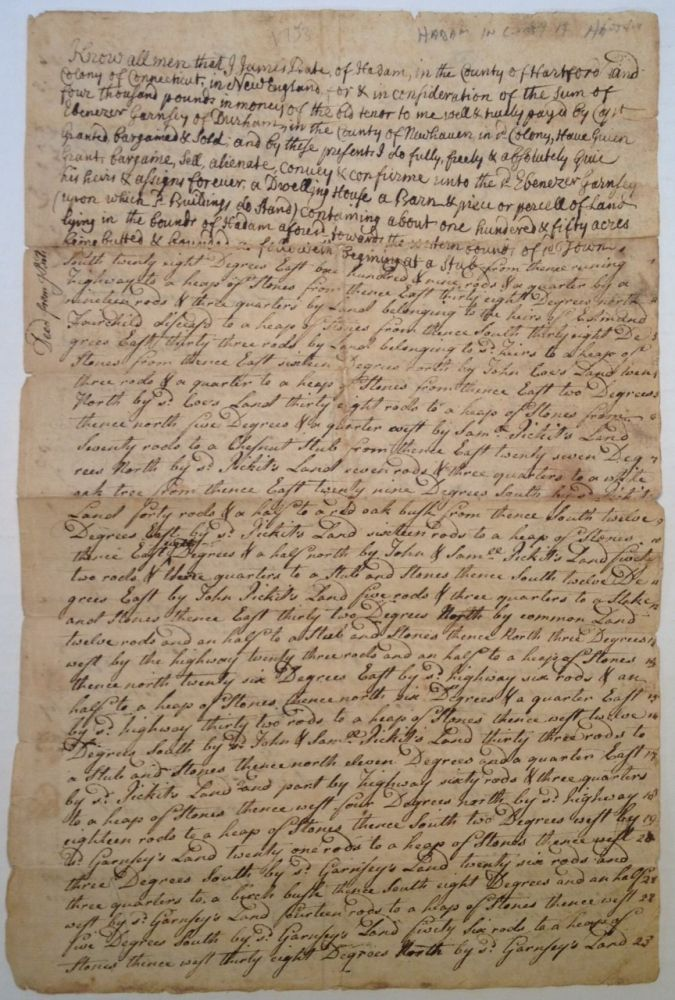 Autographed Document Signed -- a Real Estate Transfer. COLONIAL CONNECTICUT: THE WADSWORTH FAMILY.