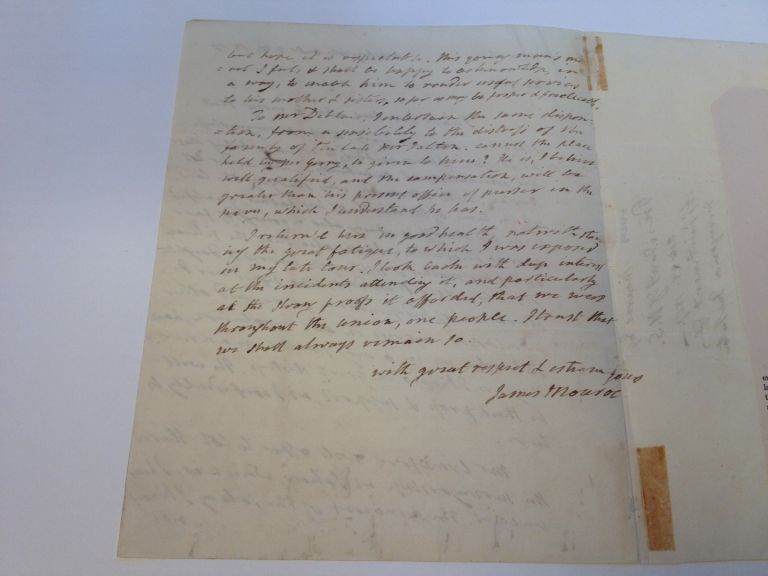 Outstanding Autographed Letter Signed as President. James MONROE, 1758 - 1831.
