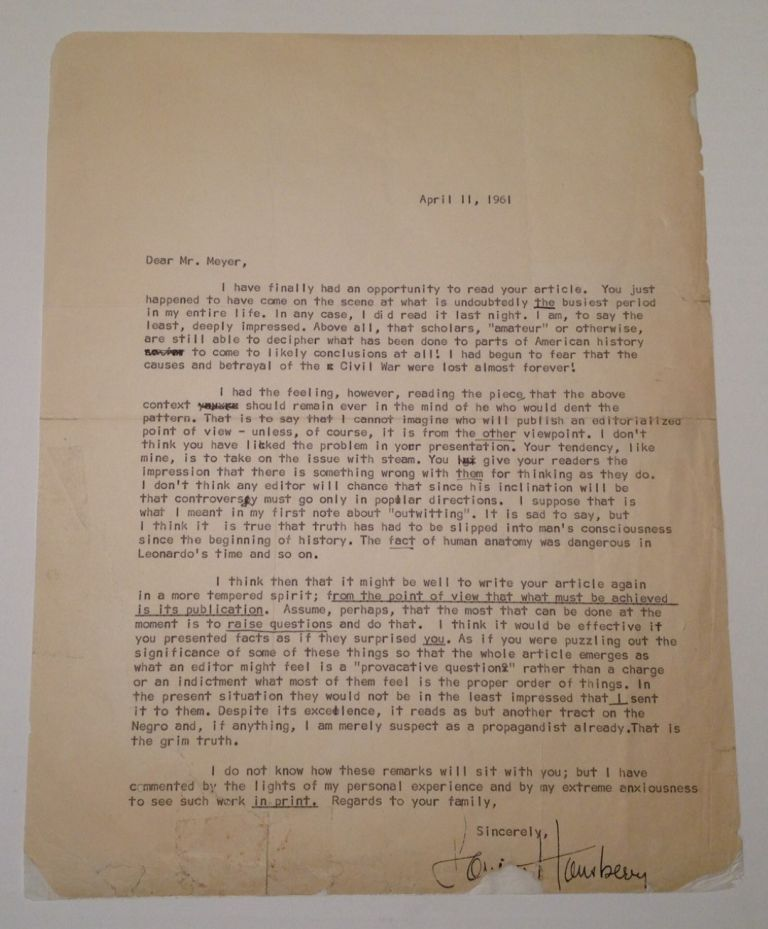 Typed Letter Signed with fine literary content. Lorraine HANSBERRY, 1930 - 1965.