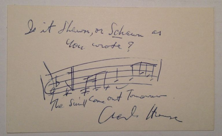 Autographed Musical Quotation. Charles STROUSE, 1928 -.