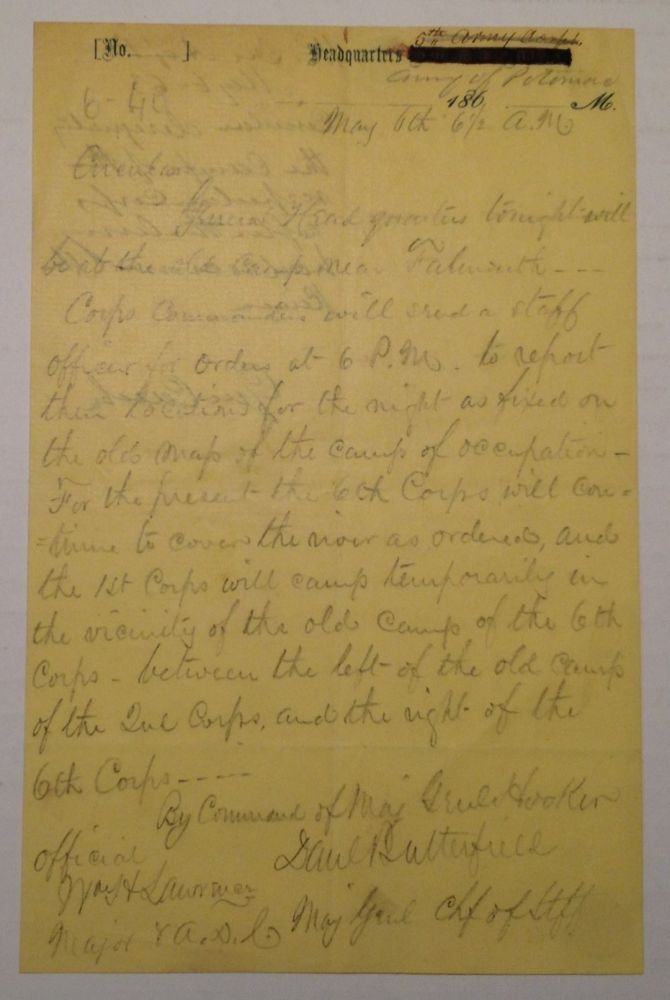"""Autographed Document Signed on """"Headquarters Army of the Potomac"""" letterhead. Joseph HOOKER."""
