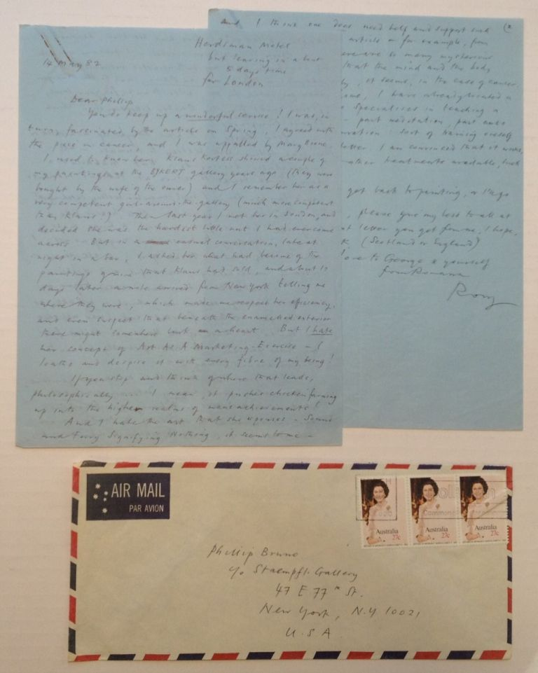 Three Autographed Letters Signed. Rory McEWEN, 1932 - 1982.