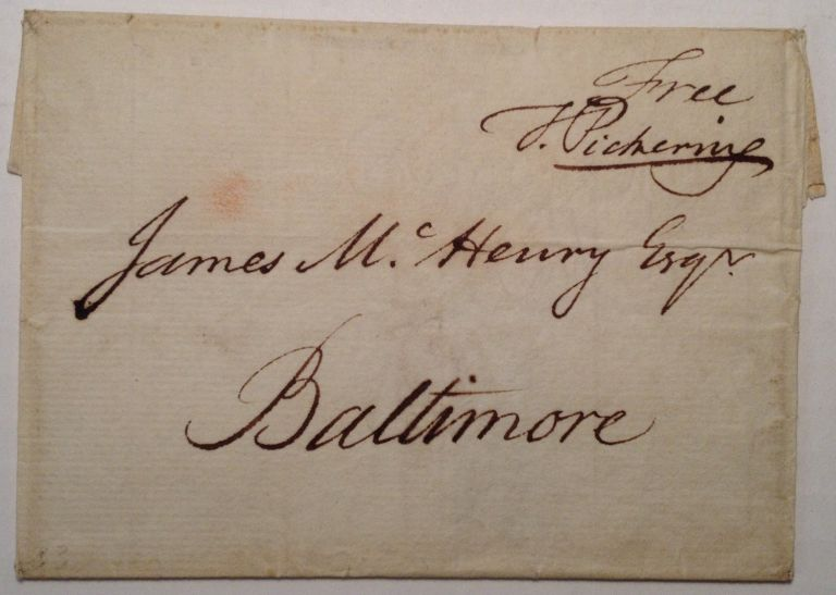 Signed Free-Frank Envelope. Timothy PICKERING, 1745 - 1829.