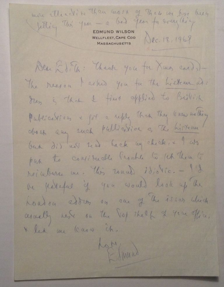 Autographed Letter Signed to drama critic Edith Oliver. Edmund WILSON, 1895 - 1972.