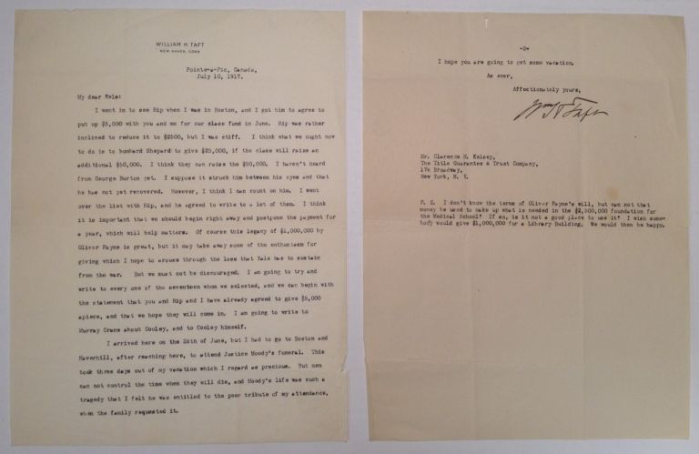 Typer Letter Signed as Professor of Law at Yale. William Howard TAFT, 1857 - 1930.