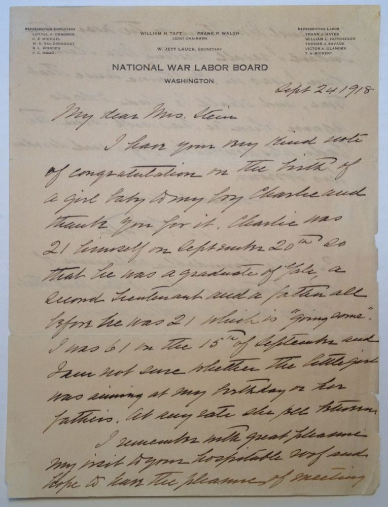 "Autographed Letter Signed on ""National War Labor Board"" Letterhead. William Howard TAFT, 1857 - 1930."