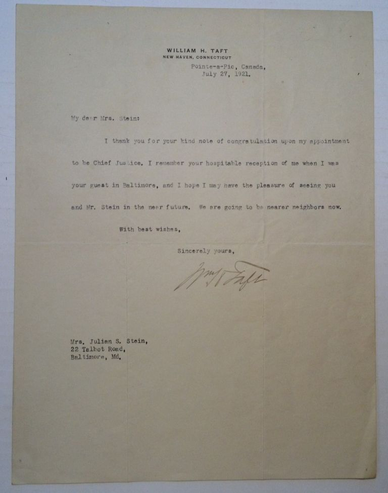 Typed Letter Signed on Personal Stationery. William Howard TAFT, 1857 - 1930.