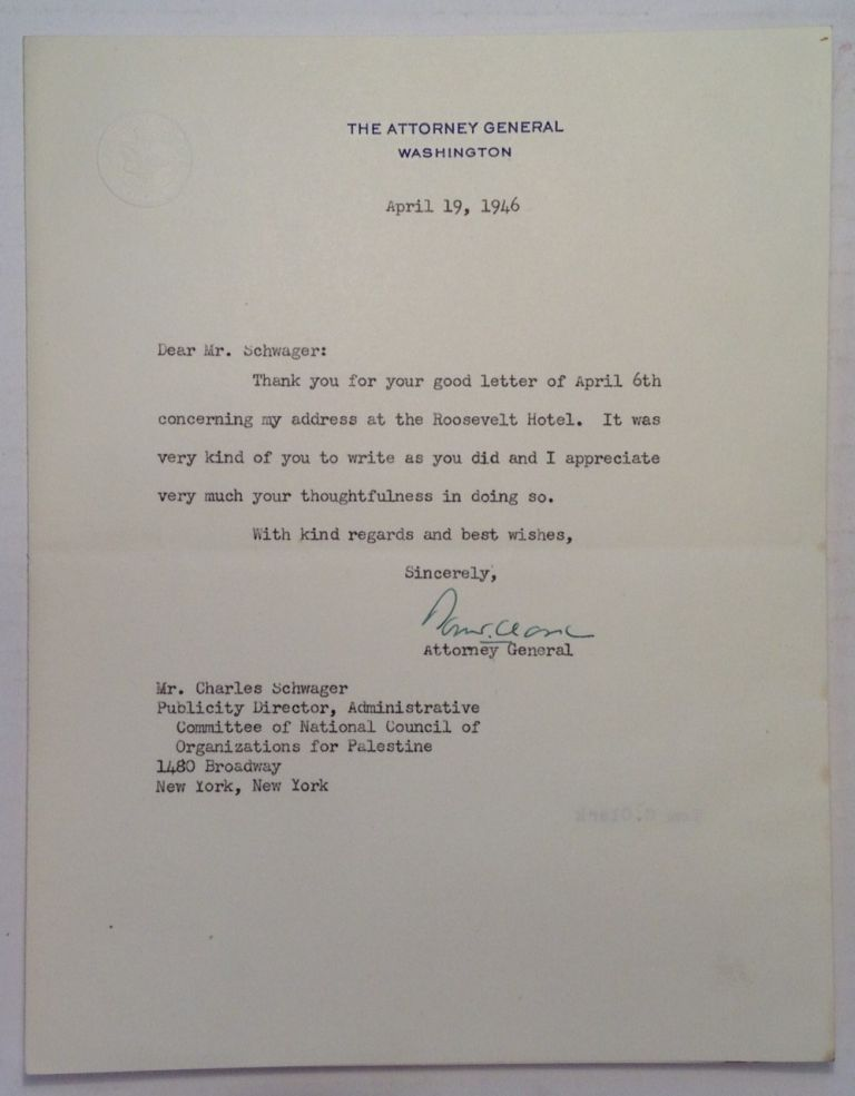 """Typed Letter Signed on """"Attorney General"""" stationery. Tom CLARK, 1899 - 1977."""