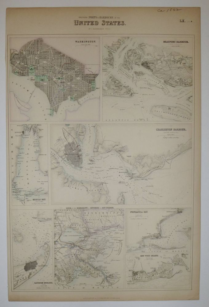 Southern Ports & Harbours in the United States. (Washington, Beaufort Harbour, Mobile Bay, Charleston Harbour, Galveston Entrance, Delta of the Mississippi & Environs of New Orleans, Pensacola Bay, Key West Island.). John BARTHOLOMEW.