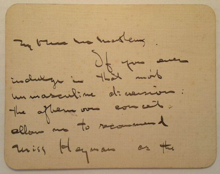 Autographed Note Signed on a Card. Ezra POUND, 1885 - 1972.
