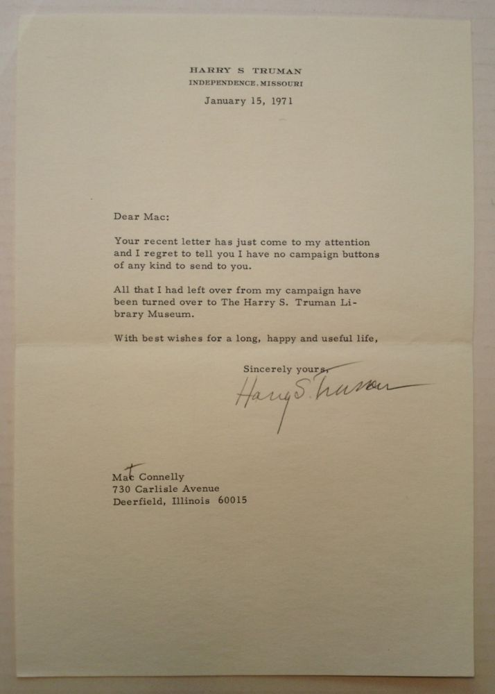 Typed Letter Signed with one Handwritten Correction. Harry S. TRUMAN, 1884 - 1972.