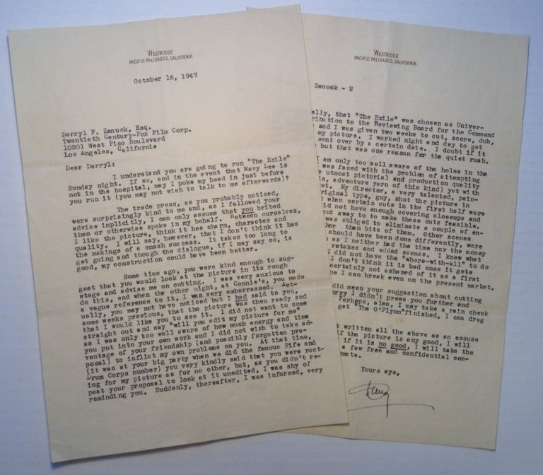 "Typed Letter Signed ""Doug"" to an editor at 20th-Century Fox. Douglas FAIRBANKS, Jr., 1909 - 2000."