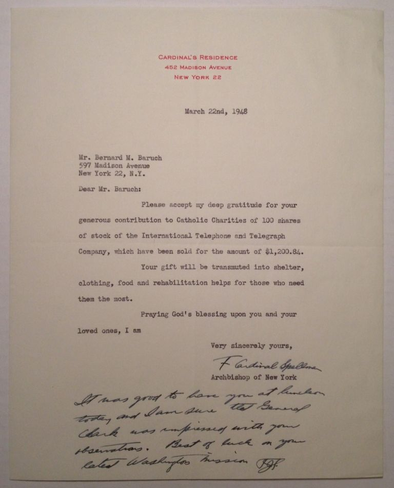 "Typed Letter Signed on ""Cardinal's Residence"" letterhead. Cardinal Francis Joseph SPELLMAN, 1889 - 1967."