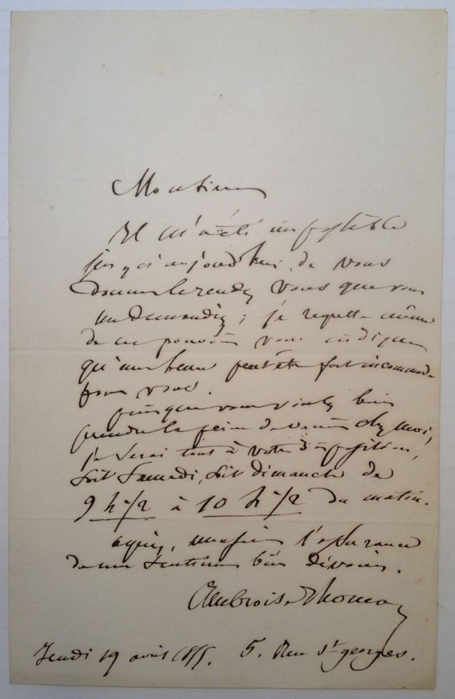 Autographed Letter Signed in French. Ambroise THOMAS, 1811 - 1896.