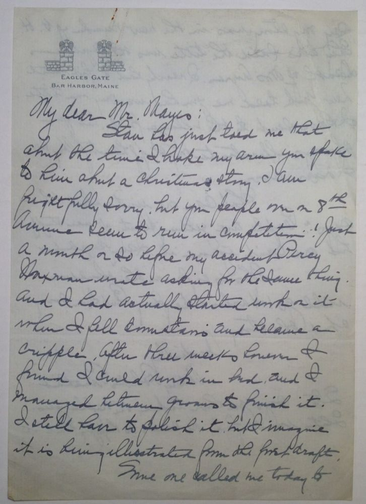 Autographed Letter Signed to editor Herbert Mayes. Mary Roberts RINEHART, 1876 - 1958.