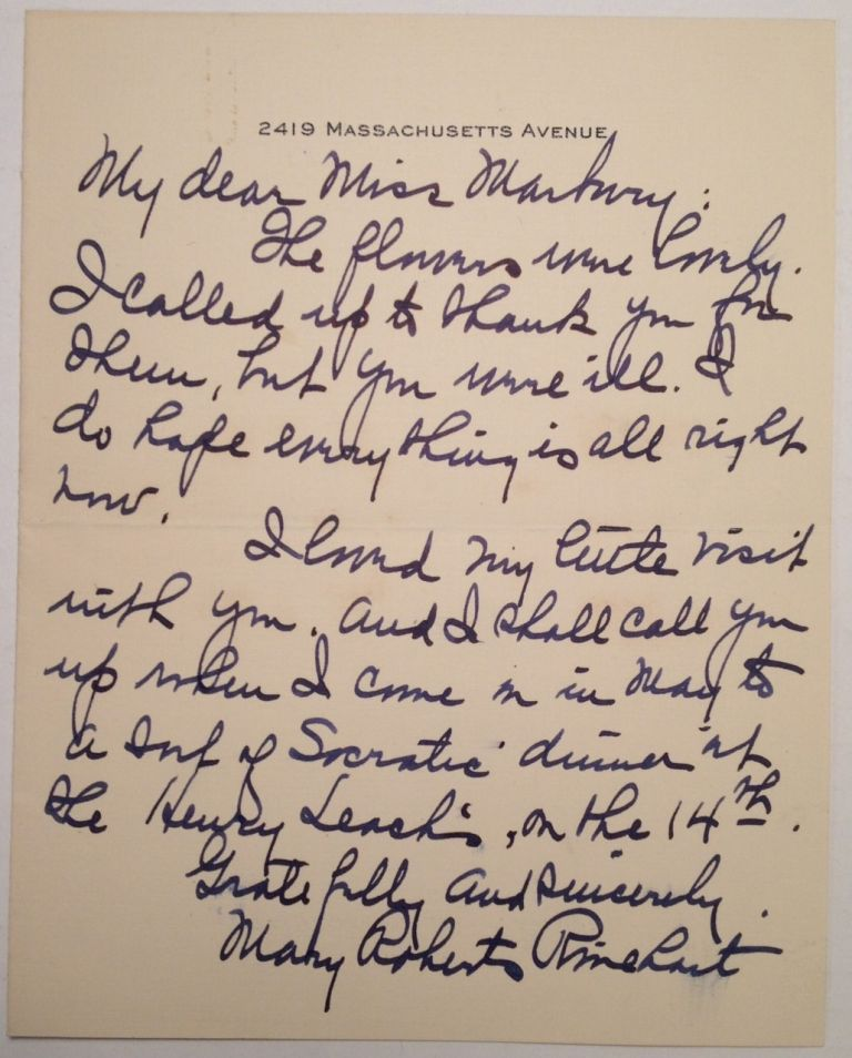 Autographed Letter Signed to Theatrical Agent Elisabeth Marbury. Mary Roberts RINEHART, 1876 - 1958.