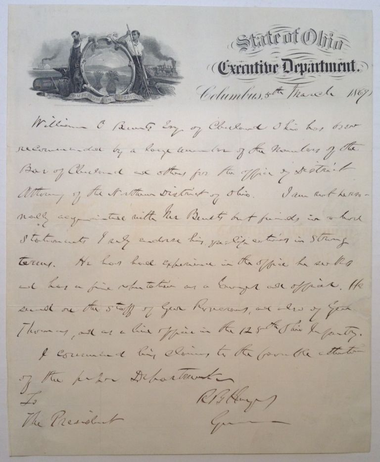Autographed Letter Signed to Ulysses S. Grant. Rutherford B. HAYES, 1822 - 1893.