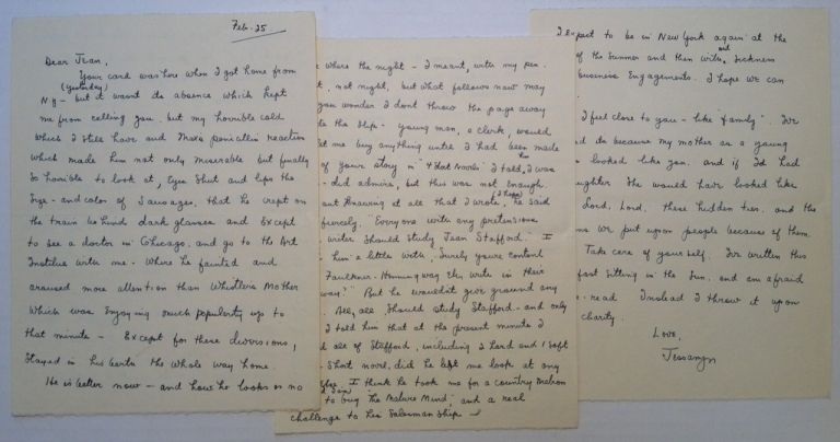 Five-page Autographed Letter Signed. Jessamyn WEST, 1902 - 1984.