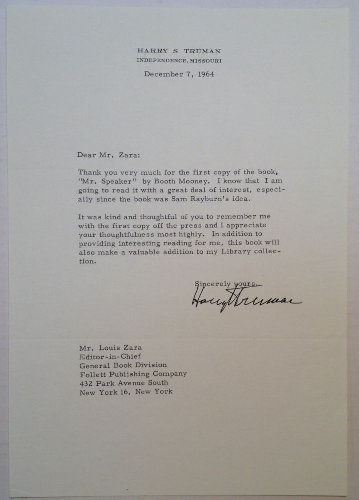 Typer Letter Signed on Personal Stationery. Harry S. TRUMAN, 1884 - 1972.