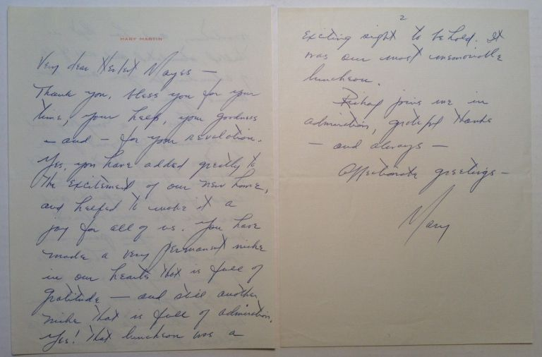 "Autographed Letter Signed ""Mary"" on personal stationery. Mary MARTIN, 1913 - 1990."