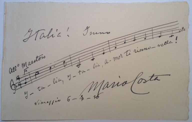 Autographed Musical Quotation Signed. Mario COSTA, 1858 - 1933.