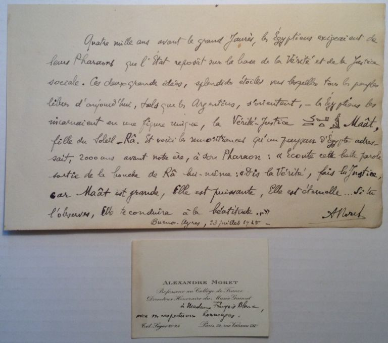 Autographed Manuscript Signed in French. Alexandro MORET, 1868 - 1938.